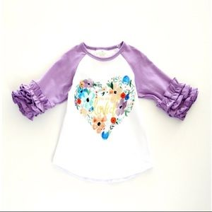 Other - You are loved Raglan top. Ruffle sleeves. NWOT